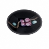 Cabouchon Glass 25/18mm Oval Black with flower Inside